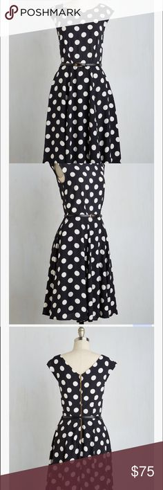 See It To Achieve It black white polka dot dress Spotting this vintage-inspired midi from Closet London brings before your eyes all the things you aspire to accomplish! Picturing yourself earning a big promotion in the black and white color scheme, belted waistline, and pocketed skirt of this delightful back-zipped dress, your motivation is set in motion. Shell: 100% Viscose. Lining: 100% Polyester. No stretch. Removable adjustable belt.  Machine wash. Side pockets. Lined skirt. Back zipper…
