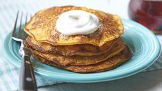 Add extra flavor and nutrients to your breakfast pancakes by stirring canned pumpkin into the batter. Canned Pumpkin, Pumpkin Spice, Breakfast Pancakes, Breakfast Recipes, Yogurt Cups, Greek Yogurt, No Dairy Recipes, Easy Recipes, Pumpkin Pancakes
