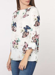 Womens **Tall Butterfly Print Top- Multi Colour