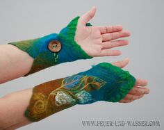 Felted Cuffs Felted gloves Arm warmers Felt от FeuerUndWasser