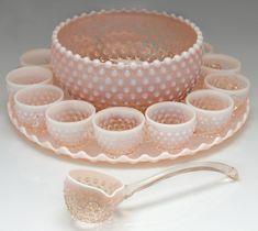 vintage pink hobnail punch bowl set