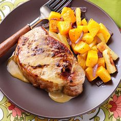 Pork Chops in a Honey-Mustard Sauce Recipe -Pork chops are a great economical cut and cook up quickly, making them ideal for busy weeknight meals. But turning out tender chops can be tricky. Browning them first, then finishing them in this tangy, slightly sweet sauce results in perfectly cooked chops. —Susan Bentley, Burlington, New Jersey