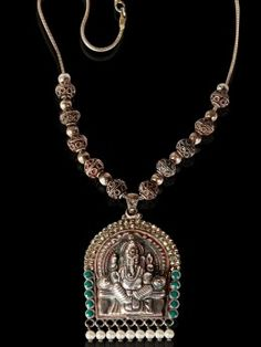 Sterling Silver n Pearls,Ganesha Necklace Handmade by Temple artisans down 400 years from a remote hamlet in South India. Just a single piece, never to be found again.