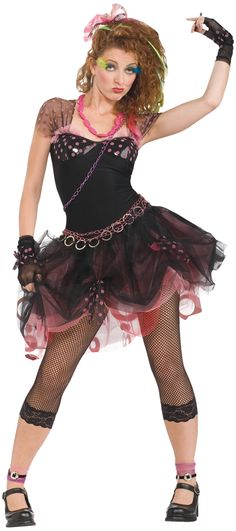 Ladies 1980s Diva Fancy Dress Costume: Madonna Styled 80s Fancy Dress Costume.