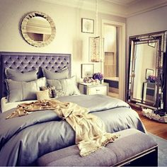 gold and shades of purple for an elegant bedroom
