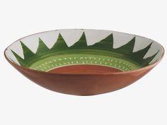 ALVITO Terracotta Green and white patterned terracotta bowl D36cm - HabitatUK