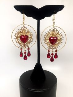 adore mi amor Statement Sacred Heart Hoop earrings with crystal drops by REIKOLYN on Etsy https://www.etsy.com/listing/263216487/adore-mi-amor-statement-sacred-heart
