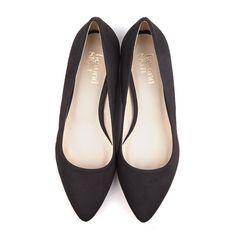 120.00 Shelley Black Vegan Suede Flat Court Shoes