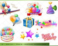 Happy Birthday Clipart - Clip Art of Colorful Birthday Images - Commercial Use - INSTANT Download Happy Birthday  - INSTANT Download