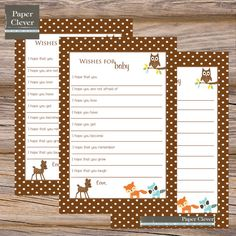baby shower woodland animal theme | Well Wishes for Baby Woodland Animal - INSTANT DOWNLOAD, printable