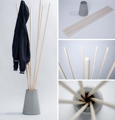 Quick, easy and cheap to construct, this coat rack prototype by Vytautas Gecas nonetheless has quite a bit of (albeit unconventional) class – arguably even elegance. You could probably buy a set of rake or broom handles and simple outdoor plant pot at the Concrete Furniture, Concrete Wood, Concrete Projects, Concrete Design, Diy Furniture, Furniture Plans, Furniture Online, House Furniture, Handmade Furniture