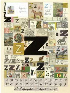Sir Peter Blake Silkscreen Alphabet Series 'The Letter Z'. Childrens Alphabet, Childrens Artwork, Alphabet Art, Typography Letters, Lettering, The Zoo, Peter Blake, Trash Art, Collage Art