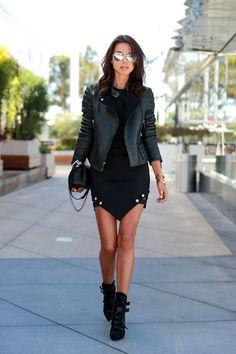 Shop this look on Lookastic:  https://lookastic.com/women/looks/biker-jacket-bodycon-dress-ankle-boots-crossbody-bag-sunglasses/12339  — Grey Sunglasses  — Black Bodycon Dress  — Black Leather Crossbody Bag  — Black Leather Biker Jacket  — Black Suede Ankle Boots