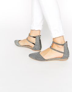 Image 1 ofASOS LOWER Pointed Double Strap Ballet Flats