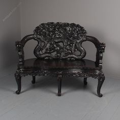 Antique Chinese Carved Hardwood Hall Bench - Antiques Atlas Antique Bench, Antique Chinese Furniture, Hall Bench, Dragon Head, Traditional Chinese, Benches, Hardwood, Armchair, Carving