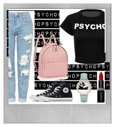 """""""Untitled #187"""" by estersc ❤ liked on Polyvore featuring Polaroid, Topshop, Converse, Smashbox and CLUSE"""
