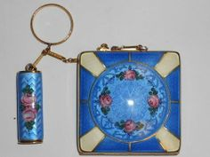 Vintage Sterling Silver La Mode Compact and Lip Stick Enameled Guilloche Case   eBay