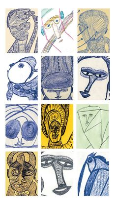 Ernst Kolb, 1927-1993 was a german baker, early retired, when he began to draw. He was very creative and different from many other outsider artists, the subjects of his drawings are changing continuously and at the same time, he drew faces in many different ways avoiding repetitions see these examples. More drawings of Ernst Kolb along with works of 102 other artists on www.outsider-art-brut.ch and www.aussenseiterkunst.ch.