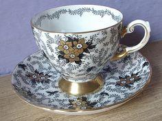 Antique black and gold tea cup set Tuscan English by ShoponSherman