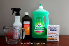 Remove stains from mattress, carpet, upholstery recipe -- Here's what to do:  Measure out your 8oz of hydrogen peroxide in the measuring cup. Add your 3tbs of baking soda to the hydrogen peroxide and mix until dissolved. Pour the mixture into your spray bottle and add a drop of the dish soap. Shake and spray, spray, spray!!