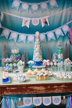 Frozen themed dessert buffet via Kara's Party Ideas KarasPartyIdeas.com Full of decor, recipes, tutorials, games, and more! (16)