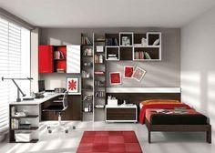 chambre ado garon en rouge et gris - Decoration Chambre Ado Garcon