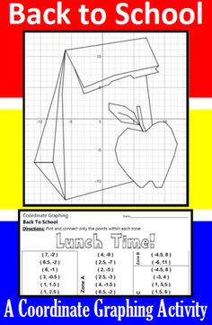 Make going Back to School fun with this coordinate graphing activity.  Students are given a list of coordinate points to connect.  They should connect the points only within the designated zones. When they are done, they will have a picture of their lunch at Lunch Time!