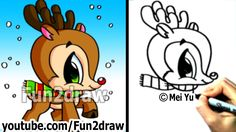 How to Draw Christmas Stuff - How to Draw a Reindeer (Cute and Easy) - Drawing Lessons - Drawing Videos For Kids, Easy Drawings For Beginners, Easy Drawings For Kids, Drawing Lessons, Drawing Ideas, Easy Drawings Sketches, Doodle Drawings, Disney Drawings, Cartoon Drawings