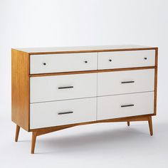Design your bedroom with our collection of Mid-Century furniture from west elm. Find mid-century modern dressers, nightstands, beds and more. Mid Century Bedroom, Mid Century Modern Dresser, Mid Century Furniture, Modern Drawers, 8 Drawer Dresser, Wood Dresser, Furniture Decor, Bedroom Furniture, Modern Furniture