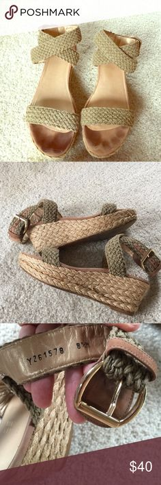 """✨Stuart Weitzman Jute/Leather Crisscross Platform ✨Gorgeous Jute Straps that go Across Toes and Buckle around Ankle✨ Platform is 2.5"""" in Back so Very Comfortable to Walk In. These have been lovingly worn, slightly at front bottom part of toe (shown) but In otherwise Great Condition! These Cost me a Fortune (to me) but I Had to Have Them!✨ Pic #3 shows the Gorgeous Straps, Golden Leather on the Inner part & Gold Buckles!✨Love These shoes!💗✨ Stuart Weitzman Shoes Platforms"""