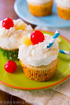 You'll feel like you're sitting on the beach with a drink in your hand when you try these pina colada cupcakes.