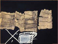 Fragments, 1995, Mixed media on wood, 35.2 x 45.7 in / 89.5 x 116 cm, T008725, Copyright:  Fundació Antoni Tàpies, Barcelona/VEGAP, Madrid, 2012, Photography by Gasull Fotografía, Barcelona