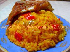 Riz safrané aux poivrons الأرز بالزعفران مع الفلفل