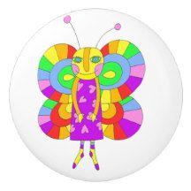 Children's Rainbow Butterfly Ceramic Knob