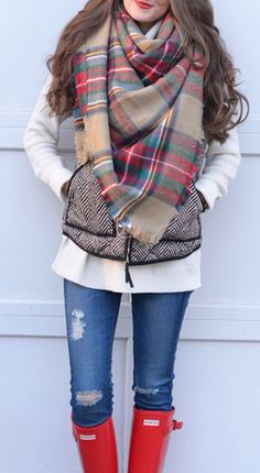 Plaid Scarf & Hunter Boots #FallStyle