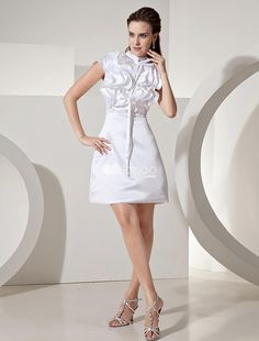 Sweet White Satin Short Sleeve Womens Cocktail Dress. See More Colorful Dresses at http://www.ourgreatshop.com/Colorful-Dresses-C963.aspx
