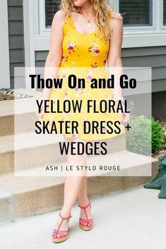 Yellow Floral Skater Dress + Wedges. | Le Stylo Rouge Fashion Group, Only Fashion, Boho Fashion, Fashion Beauty, Stylish Dresses, Stylish Outfits, Floral Skater Dress, Little Fashion, Instagram Outfits