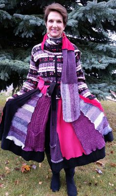 Sweater Coat Made from Recycled Sweaters by WearableArtbyDenise