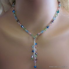 Beaded Tassel Necklace with Multi Color Swarovski Crystals
