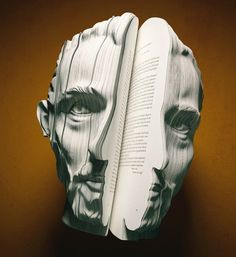 We've done a similar project to this. Book alteration is executed nicely in this sculpture. We see a man's face in great detail. The books pages have been sculpted to get the shape.