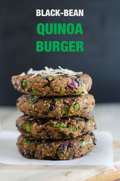 Black bean quinoa burger that are loaded with healthy. Black bean quinoa burger that are loaded with healthy plant Black bean quinoa burger that are loaded with healthy plant proteins dietary fibers and nutrition from fresh veggies Quinoa Veggie Burger, Black Bean Quinoa Burger, Bean Burger, Vegetarian Recipes, Cooking Recipes, Healthy Recipes, Vegetarian Barbecue, Vegetarian Cooking, Cooking Tips