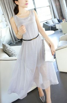 2013 chiffon dress - http://zzkko.com/n186463-013-summer-new-Korean-version-of-the-double-layer-chiffon-dress-was-thin-loose-round-neck-pullover-women-sleeveless-vest-skirt.html $12.50