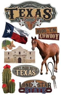 Paper House Productions - Texas Collection - 3 Dimensional Cardstock Stickers - Texas  $3.99