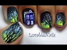 DOCTOR WHO TARDIS Blue Public Call Box / Police Box nail art by LuvableNails