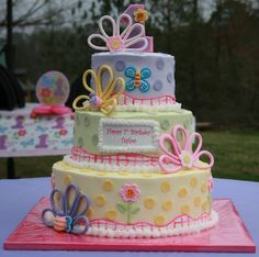 Two Tier Buttercream Cake dora | Hugs-n-Stitches 3 Tier Birthday Cake with Buttercream Icing, Fondant ...
