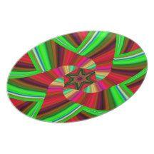 Kaleidoscope Star Art Red Green Plate