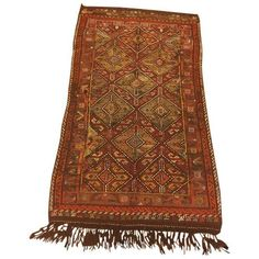 """Vintage Turkish Kilim Rug - 3'3"""" x 5'11"""" ($1,030) ❤ liked on Polyvore featuring home, rugs, contemporary handmade rugs, woven rug, wool area rugs, handmade rugs, white wool rug and wool rugs"""