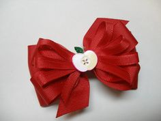 RED School Uniform Hair Bow Apple Unique Boutique by HareBizBows