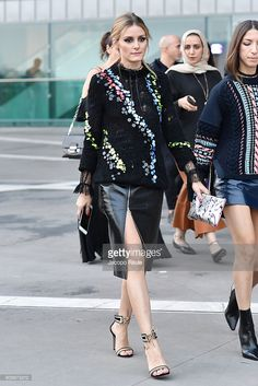 Olivia Palermo is seen leaving the Versace show during Milan Fashion Week Spring/Summer 2017 on September 23, 2016 in Milan, Italy.