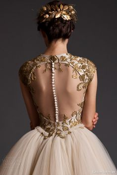 "Krikor Jabotian ""Akhtamar"" #couture collection spring 2014: cap sleeve #wedding dress close up #gold #weddingdress #weddinggown"
